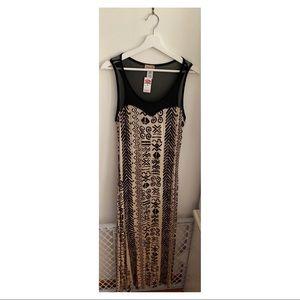 Janette plus Black and beige maxi dress sz 1X